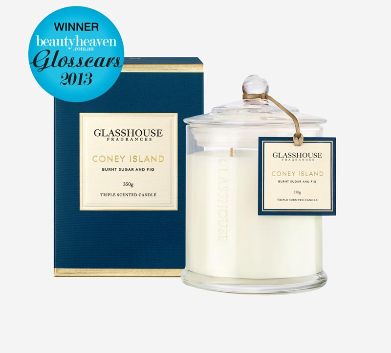 glasshouse fragrances candle coney island burnt sugar and fig 1 - Shop for flowers online