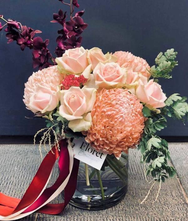 seasonal burst vase arrangement